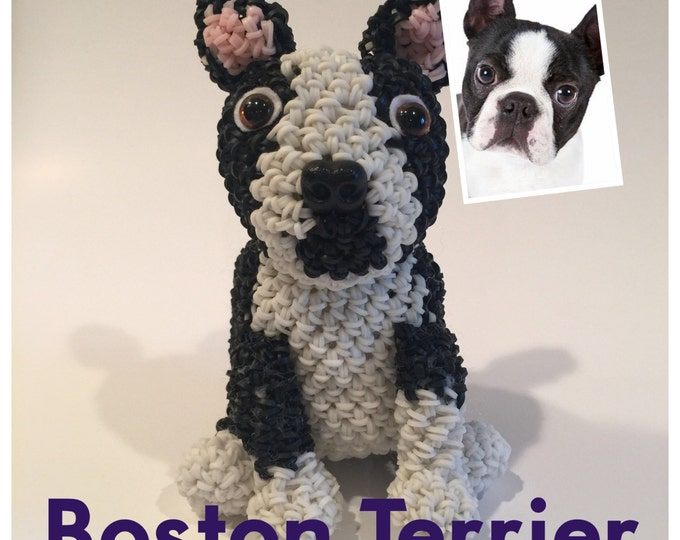 Boston Terrier Rubber Band Figure, Rainbow Loom Loomigurumi, Rainbow Loom Dog
