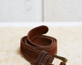SALE! 1970s Zig Zag Brown Leather Belt