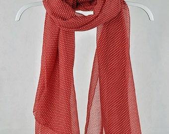 Red Polka Dot Scarf, Shawl, gift for her, Oversized Scarf, womens gift, gift for coworker, gift for boss, gift for teacher (VS-29-01)