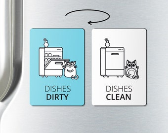 DISHWASHER MAGNET - clean dirty dishwasher magnet - clean or dirty, magnets, clean dirty dishwasher magnet, clean dishes, dirty dishes
