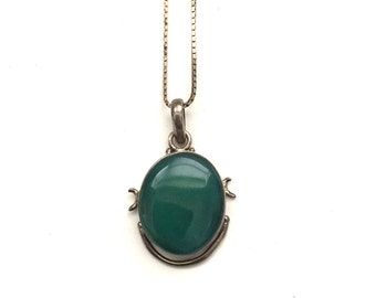 Vintage Sterling Silver Brutalist Style Green Stone Pendant Necklace