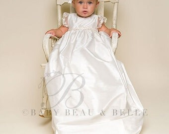 Christening Gown, Leila Ivory Silk Baptism Gown