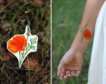 California Poppy: Two Temporary Tattoos