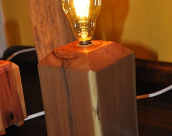 Red Cedar Candelabra Accent Lamp with Edison Bulb and Thumbwheel Switch