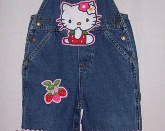 Custom boutique little girls Hello Kitty overalls with hair bow all sizes