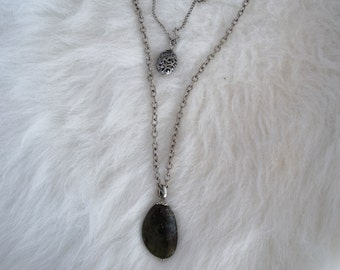 gray stone and silver pendant layered necklace