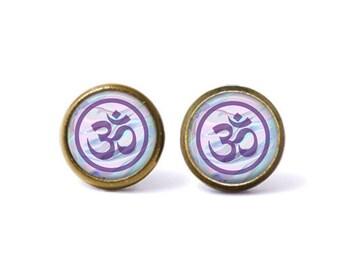 Mystic Om Stud Earrings. Om Earrings, Om Jewelry, Ohm, Eastern Jewelry, Pastel Grunge, Bohemian Jewelry, Seapunk, Yoga Jewelry