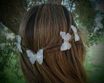 White Butterfly Hair Clip Fabric Butterfly Hair Clips Butterfly Hair Pins Butterfly Hair Pin Bridal Hair Accessories
