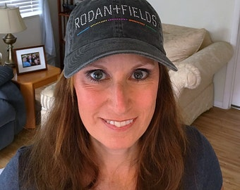 Corporate Bling Distressed Baseball Cadet Hat Rhinestones Black Rodan + Fields Womens life-changing skincare