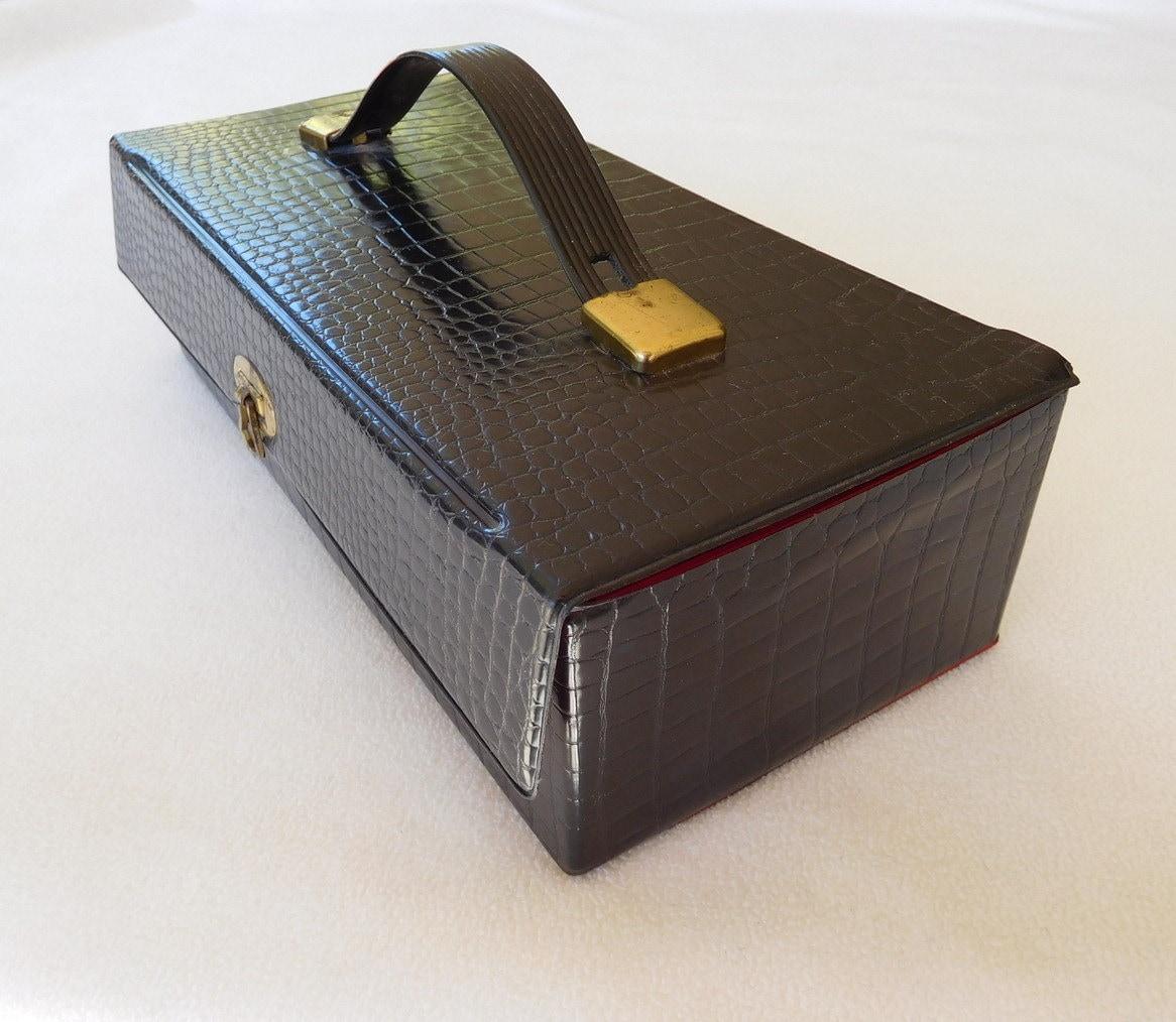 vintage audio cassette tape carry case black faux crocodile