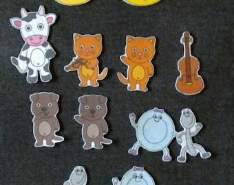 Hey Diddle Diddle Felt Story Set #2 // Flannel Board // Nostalgic // Nursery Rhyme //