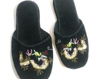 1940's Slippers | Black Velvet Beaded Oriental Dragon Slippers | Size: 5