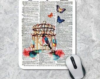 Dictionary Art Mousepad, Birdcage Mouse Pad, Birds Mousepad, Book Page Mouse Mat, Book Art Mousepad, Dictionary Page Art, Custom Mousepad