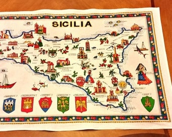 Sicilia Large Tea Towel Kitchen Towel Souvenir