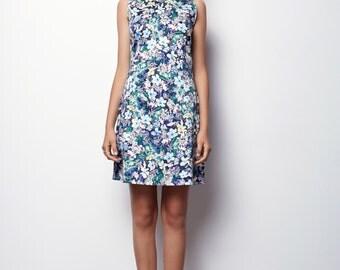 Purple Floral Dress, Floral tank dress, Sleeveless Dress - Luna size - M,L,XL