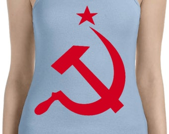 Red Hammer And Sickle Ladies Spaghetti Tank Top REDHAMMER-1011