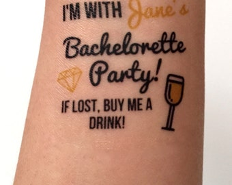 10 Bachelorette Party Favor Custom Bachelorette Temporary Tattoos Birthday Tattoo - Buy Me a Drink