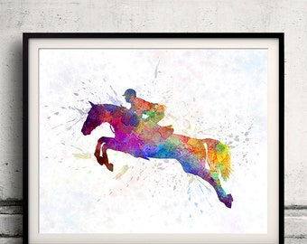 Horse Show 06 in watercolor - poster watercolor wall art splatter sport illustration print Glicée artistic - SKU 2030