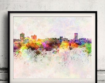 Billings skyline in watercolor background - Poster Digital Wall art Illustration Print Art Decorative - SKU 1400