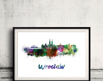 Wroclaw skyline in watercolor over white background with name of city - Poster Wall art Illustration Print - SKU 1583