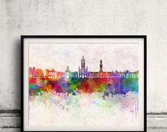 Bradford skyline in watercolor background - Poster Digital Wall art Illustration Print Art Decorative - SKU 1900