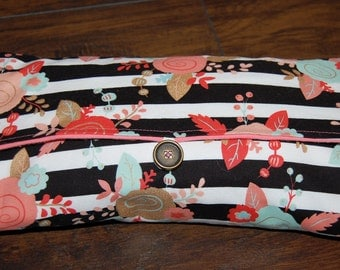 Diaper Clutch, Coral and Gold Floral Changing Pad, Girly Travel Changing Pad