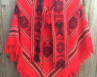 Beautiful Red Vintage Equadorian Poncho Cape / Southwestern Bohemian / Women's Size S or M / Boho Hippie South American Shawl