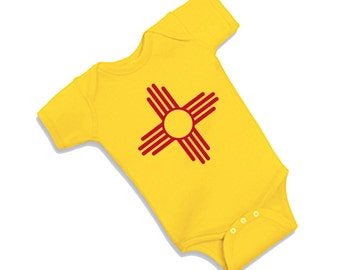 New Mexico State Onesie Featuring the Zia Symbol for Newborns, Infants, and Toddlers.