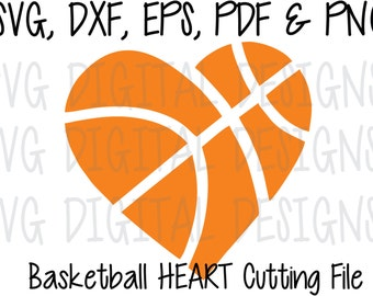 Basketball Heart SVG Cut File Design Sports Clipart - Digital Cutting file great for Silhouette Cricut - Svg Dxf Eps Pdf Png
