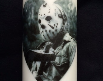 Jason Voorhees Be My Valentine White Unscented Pillar Candle