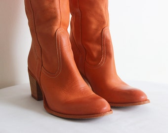 OSVALDO ROSSI Vintage Tall Leather Orange High Heel Boots