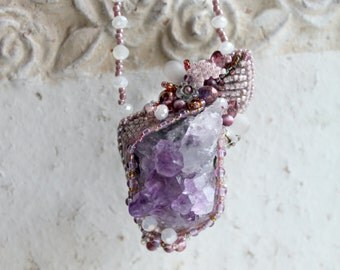 Pendant. Amethyst. Necklace. Jewelry from beads and natural stones. Handmade.