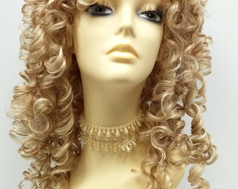 Southern Belle Mixed Blonde Long Curly Wig w/ Bangs. Spiral Curls Wig. Cosplay Wig.