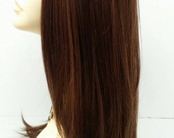 Long 24 inch Dark Brown with Light Copper Highlights Straight Lace Front Wig with Premium Heat Resistant Fiber. [47-254-Dana-4/27/30]