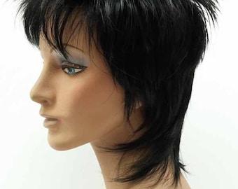 Black Rocker Wig. Rod Stewart Style Wig. Spikey Black Wig. [10-60A-Rod-1B]