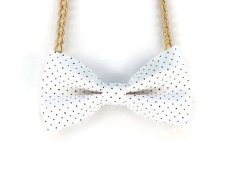 White Bow Tie Necklace - Bow Jewelry, Accessories, Statement Necklace - Easy No Tie Bow Tie - Great for Office, Wedding - Chocolate Chip