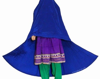 Original Afghan women veil headscarf Burka Burqa cape Afghan burqa Ethnic dress from afghanistan (dark blue)