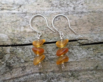 Etched Amber Wave Shaped Czech Glass Beads With Tiny Sterling Silver Beads On Sterling Silver Earrings