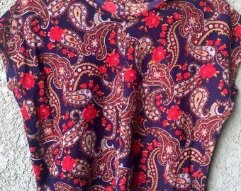 Navy and red paisley top