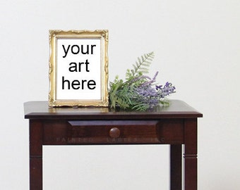 Antique Gold Frame Art Styled Mock-Up - Room Interior With Lavender Side Table and Old Book