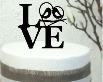 Stacked LOVE with Love birds Acrylic / wooden Cake topper  Australian made in Melbourne