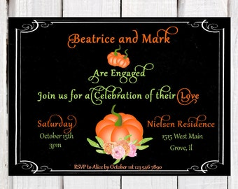 Fall Engagement Invitation,  chalkboard Engagement invitation, Autum engagement  invitation, pumpkin pair invitation, pdf or printed