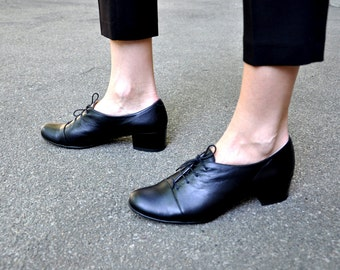 Vienna - Oxford Pumps, Womens Oxfords, Casual Shoes, Black shoes, Heeled Oxfords, Low heel, Chic Shoes, FREE customization!!!