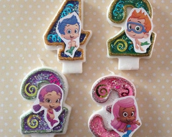 Bubble Guppies Birthday Party Number Candle