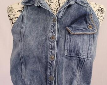 1980's Acid Wash Sleeveless Denim Dress
