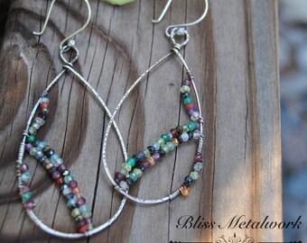 Silver Hoop Earrings, Sterling Silver Earrings, Sterling Silver Hoops, Rustic Jewelry, Crystal Earrings, Hoop Earrings, Large Hoops