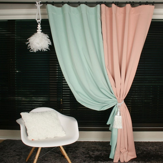 Mint Green Blackout Curtain Drapery Panel For Living Room And