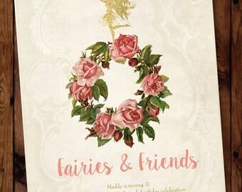 Fairy Birthday Invitation, Fairies and Friends Birthday Invitation, Little Fairy Birthday Invitation #003