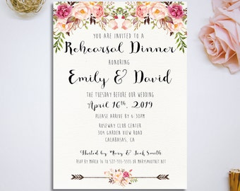 Printable Rehearsal Dinner Invitation, Wedding Rehearsal Dinner Invitation, Floral pink Ivory wedding invitation, DIY Wedding - PF-18