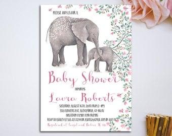 Printable elephant Baby Shower Invitation, teal, turquoise, pink, elephant invitation, custom invite, Baby Shower DIY